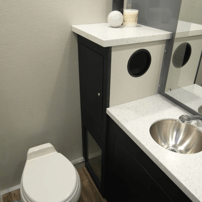 inside portable bathroom trailer